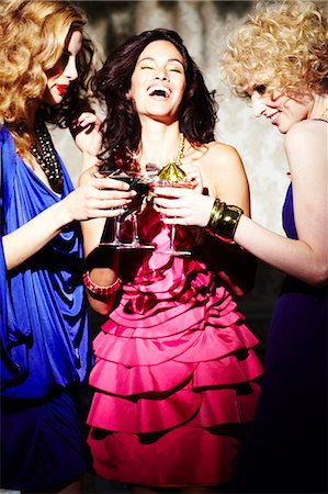 Three young women enjoying cocktails Stock Photo - Rights-Managed, Code: 847-03227455