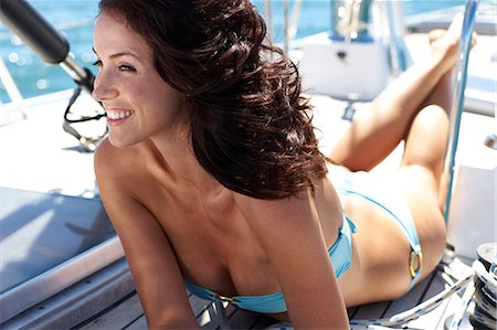 Beautiful woman on deck of yacht Stock Photo - Rights-Managed, Code: 847-03652337