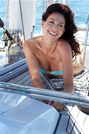 Head and shoulders of beautiful woman on deck of yacht Stock Photo - Rights-Managed, Code: 847-03652333