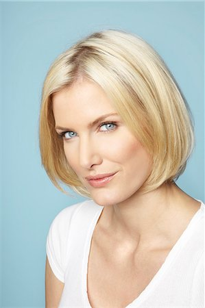 Portrait of beautiful mature blonde woman with glossy hair Stock Photo - Rights-Managed, Code: 847-03862616