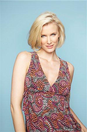 Portrait of beautiful mature blonde woman wearing pretty dress Stock Photo - Rights-Managed, Code: 847-03862628