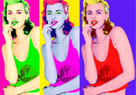 dynamic - Pop art image of beautiful mature blonde woman Stock Photo - Rights-Managed, Code: 847-03862765