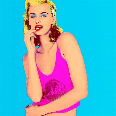 dynamic - Pop art portrait of beautiful mature blonde woman Stock Photo - Rights-Managed, Code: 847-03862762