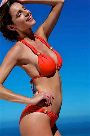 Beautiful brunette on the beach Stock Photo - Rights-Managed, Code: 847-03862864