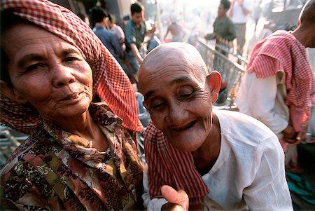 Cambodia, Phnom Penh, Mekong River, worshippers at pagodas. Stock Photo - Rights-Managed, Code: 849-02865344