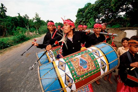 Indonesia, Lombok, drummers leading a wedding procession. Stock Photo - Rights-Managed, Code: 849-02866790