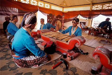 Indonesia, Yogyakarta, Sekaten Festival, Gamelan players at Sultan's mosque (Mesjid Agung). Stock Photo - Rights-Managed, Code: 849-02867252