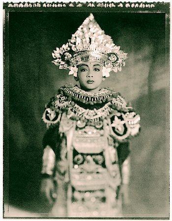Indonesia, Bali, Amlapura, Baris dancer in full costume. Stock Photo - Rights-Managed, Code: 849-02867603