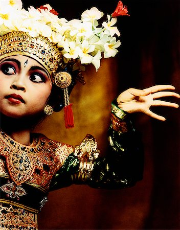 Indonesia, Bali, Amlapura, Legong dancer in dance position. Stock Photo - Rights-Managed, Code: 849-02867610