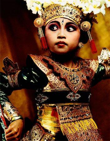 Indonesia, Bali, Amlapura, Legong dancer in dance position. Stock Photo - Rights-Managed, Code: 849-02867611
