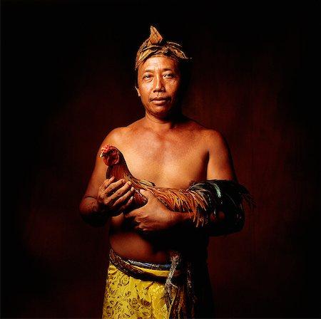 Indonesia, Bali, Ubud, Balinese man holding fighting cock. Stock Photo - Rights-Managed, Code: 849-02867624