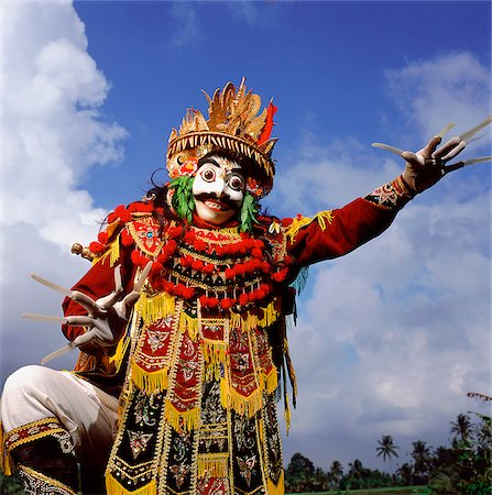 Indonesia, Bali, Ubud, Mask (Topeng) dancer performing. Stock Photo - Rights-Managed, Code: 849-02867634