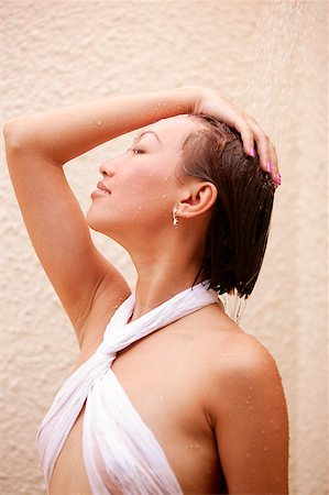 Young woman, hand on head, eyes closed, profile Stock Photo - Rights-Managed, Code: 849-02868824