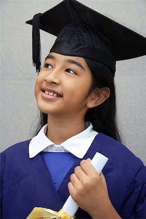 preteen  smile  one  alone - young girl graduate with diploma (close-up) Stock Photo - Rights-Managed, Code: 849-02862318