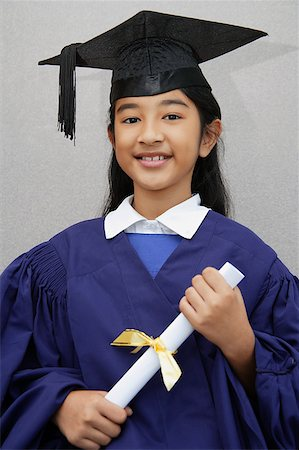 preteen  smile  one  alone - young girl graduate with diploma Stock Photo - Rights-Managed, Code: 849-02862568