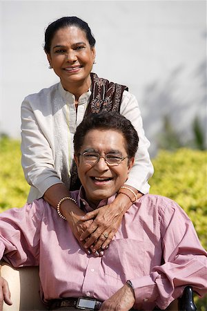 couple posing for portrait outside Stock Photo - Rights-Managed, Code: 849-02863186