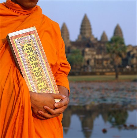 Cambodia, Sien Reap, Province, Angkor Wat, Buddhist monk holding Buddhist manuscript Stock Photo - Rights-Managed, Code: 849-02875006