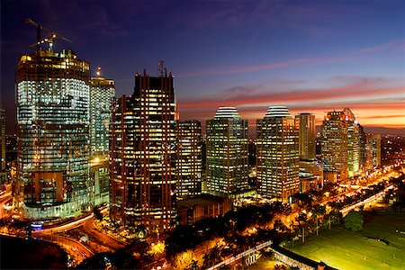 Sunset view of office buildings and construction along Jalan Jend Sudirman, Senayan, Jakarta Stock Photo - Rights-Managed, Code: 849-02877925