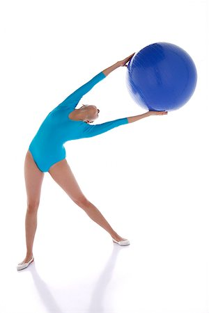 Gymnast exercising with fitness ball Stock Photo - Rights-Managed, Code: 849-02879024