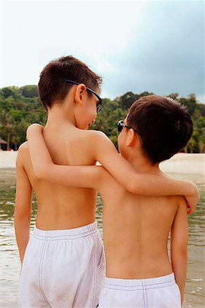 dependable - Two boys, arm around each other, rear view Stock Photo - Rights-Managed, Code: 849-02871031