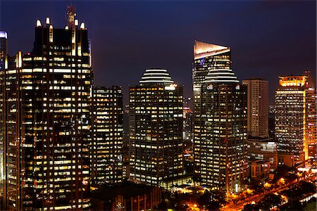 Night view of office buildings and skyscrapers along Jalan Jend Sudirman, Jakarta Stock Photo - Rights-Managed, Code: 849-03645730