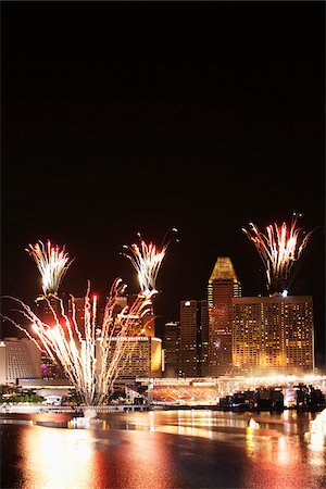 Fire works at Marina Bay, Singapore Stock Photo - Rights-Managed, Code: 849-03901363