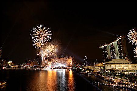 Fire works at Marina Bay, Singapore Stock Photo - Rights-Managed, Code: 849-03901387