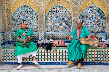 Carcaba (iron castanets) and Gambri (guitar) players, Kasbah, Tangier, Morocco, North Africa, Africa Stock Photo - Rights-Managed, Code: 841-05784042