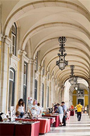 Colonnade in Praca do Comercio, Baixa District, Lisbon, Portugal, Europe Stock Photo - Rights-Managed, Code: 841-05784336