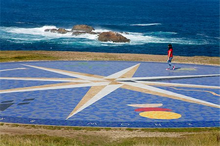 Tile compass near The Tower of Hercules Lighthouse, La Coruna City, Galicia, Spain, Europe Stock Photo - Rights-Managed, Code: 841-05784391