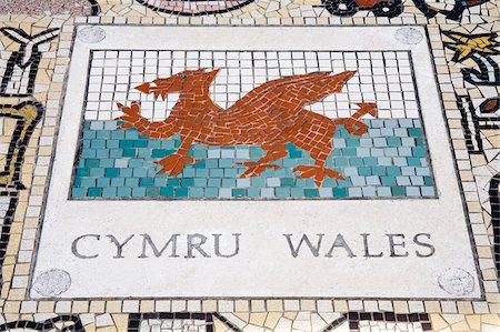 Tile mosaic of Welsh crest at Millennium Stadium, Cardiff City, Wales, United Kingdom, Europe Stock Photo - Rights-Managed, Code: 841-05784460