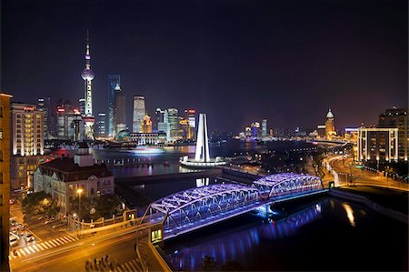 New Pudong skyline, Waibaidu (Garden) Bridge, looking across the Huangpu River from the Bund, Shanghai, China, Asia Stock Photo - Rights-Managed, Code: 841-05784804