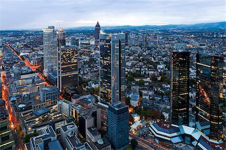 City centre from above at dusk, Frankfurt, Hesse, Germany, Europe Stock Photo - Rights-Managed, Code: 841-05784832