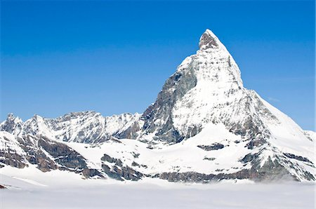 snow capped - Matterhorn from atop Gornergrat, Switzerland, Europe Stock Photo - Rights-Managed, Code: 841-05784885