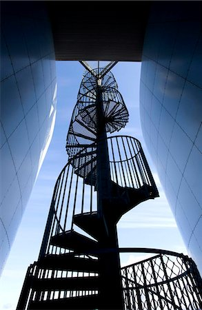 spiral - Spiral staircase outside Perlan, a modern building housing the Saga Museum, Reykjavik, Iceland, Polar Regions Stock Photo - Rights-Managed, Code: 841-05781417