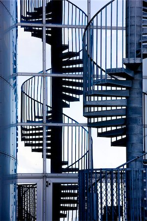 spiral - Spiral staircase and its reflection outside Perlan, a modern building housing the Saga Museum, Reykjavik, Iceland, Polar Regions Stock Photo - Rights-Managed, Code: 841-05781418