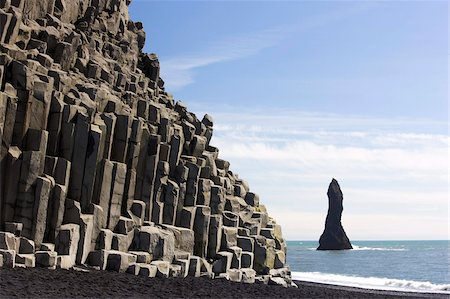 Basalt cliffs and rock stack, Halsenifs Hellir Beach, near Vik i Myrdal, South Iceland, Iceland, Polar Regions Stock Photo - Rights-Managed, Code: 841-05781434