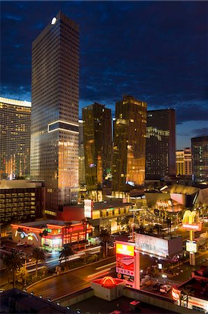 Night panorama of modern architecture with new hotels, including the Aria Resort Hotel, Veer Towers condo Hotel, the new Mandarin Oriental Hotel in the CityCenter complex, Las Vegas Boulevard South, The Strip, Las Vegas, Nevada, United States of America, North America Stock Photo - Rights-Managed, Code: 841-05782316