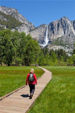 Tourist, hiker walking towards Upper Yosemite Falls, on boardwalk, across Sentinel Meadow, Yosemite Valley, Yosemite National Park, UNESCO World Heritage Site, Sierra Nevada, California, United States of America, North America Stock Photo - Rights-Managed, Code: 841-05782431