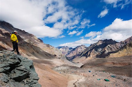 people in argentina - Hiker looking down to base camp, Plaza de Mulas, Aconcagua Provincial Park, Andes mountains, Argentina, South America Stock Photo - Rights-Managed, Code: 841-05782769