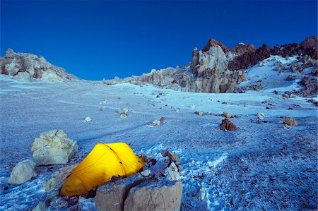 Illuminated tent at White Rocks campsite, Piedras Blancas, 6200m, Aconcagua 6962m, highest peak in South America, Aconcagua Provincial Park, Andes mountains, Argentina, South America Stock Photo - Rights-Managed, Code: 841-05782778