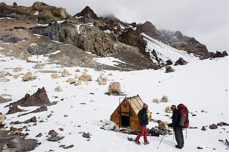 people in argentina - Climbers and hut at camp Berlin at 6000m, Aconcagua 6962m, highest peak in South America, Aconcagua Provincial Park, Andes mountains, Argentina, South America Stock Photo - Rights-Managed, Code: 841-05782773