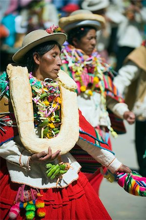 south american woman - Women wearing bread decoration, Anata Andina harvest festival, Carnival, Oruro, Bolivia, South America Stock Photo - Rights-Managed, Code: 841-05782797