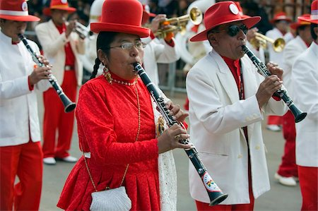 Musicians playing clarinet at Anata Andina harvest festival, Carnival, Oruro, Bolivia, South America Stock Photo - Rights-Managed, Code: 841-05782806