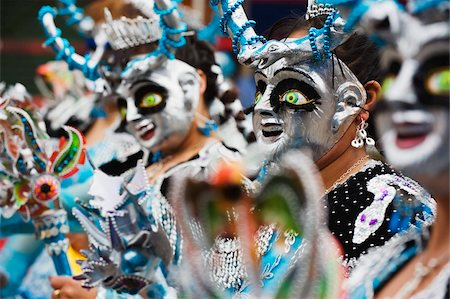 Masked performers in a parade at Oruro Carnival, Oruro, Bolivia, South America Stock Photo - Rights-Managed, Code: 841-05782819