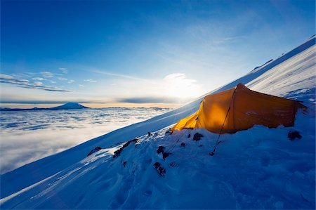 Tent on Volcan Cotopaxi, 5897m, highest active volcano in the world, Ecuador, South America Stock Photo - Rights-Managed, Code: 841-05782857