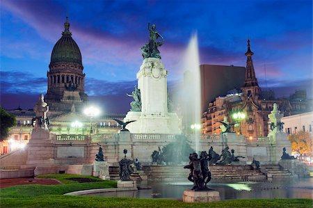 Monumento a los dos Congresos, Palacio del Congreso (National Congress Building), Plaza del Congreso, Buenos Aires, Argentina, South America Stock Photo - Rights-Managed, Code: 841-05782942