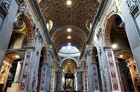 Interior of St. Peter's Basilica, Piazza San Pietro (St. Peter's Square), Vatican City, Rome, Lazio, Italy, Europe Stock Photo - Rights-Managed, Code: 841-05783419