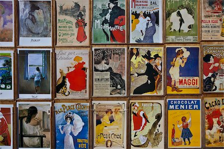 Fin-de-Siecle posters by Toulouse-Lautrec and other artists, Place du Tertre, Montmartre, Paris, France, Europe Stock Photo - Rights-Managed, Code: 841-05795291
