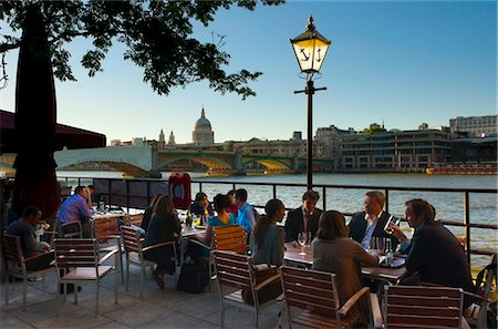 european cafe bar - St. Paul's Cathedral from Southwark river bank, London, England, United Kingdom, Europe Stock Photo - Rights-Managed, Code: 841-05795563